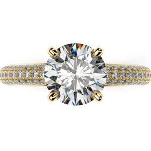 Zásnubný prsteň zo žltého zlata s jedným diamantom v štýle Pave