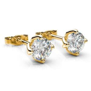 Kôstkové diamantové náušnice zo žltého zlata