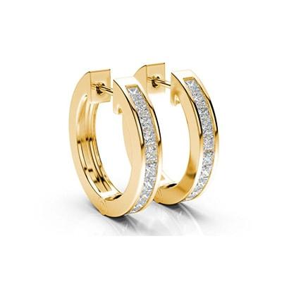 Kruhové diamantové náušnice zo žltého zlata