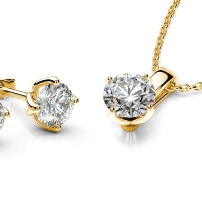 Set diamantovej náušnice a náhrdelníku zo žltého zlata