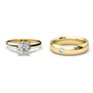 Set zásnubného prsteňa a svadobnej obrúčky zo žltého zlata