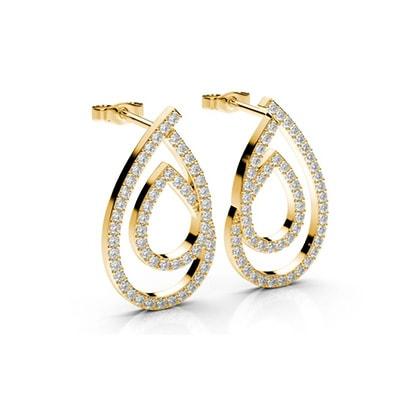 Visiace diamantové náušnice zo žltého zlata