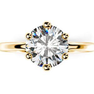 Zásnubný prsteň s jedným diamantom zo žltého zlata