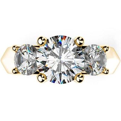 Zásnubný prsteň s tromi diamantmi zo žltého zlata