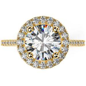 Zásnubný prsteň v štýle Halo zo žltého zlata