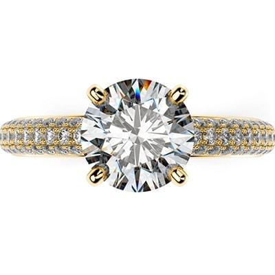 Zásnubný prsteň v štýle Pave zo žltého zlata