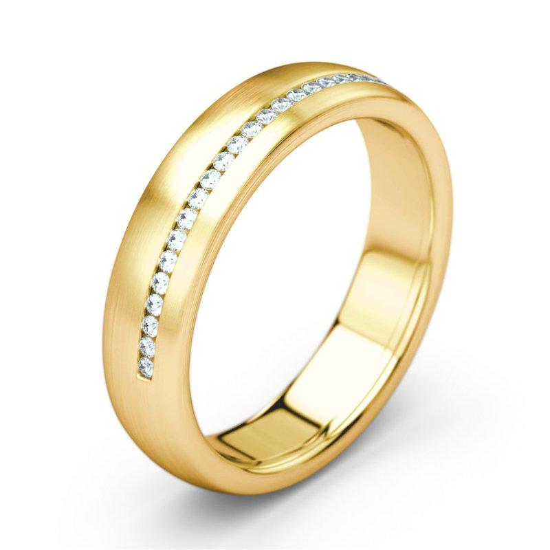 zlatá dámska svadobná obrúčka zdobená diamantmi