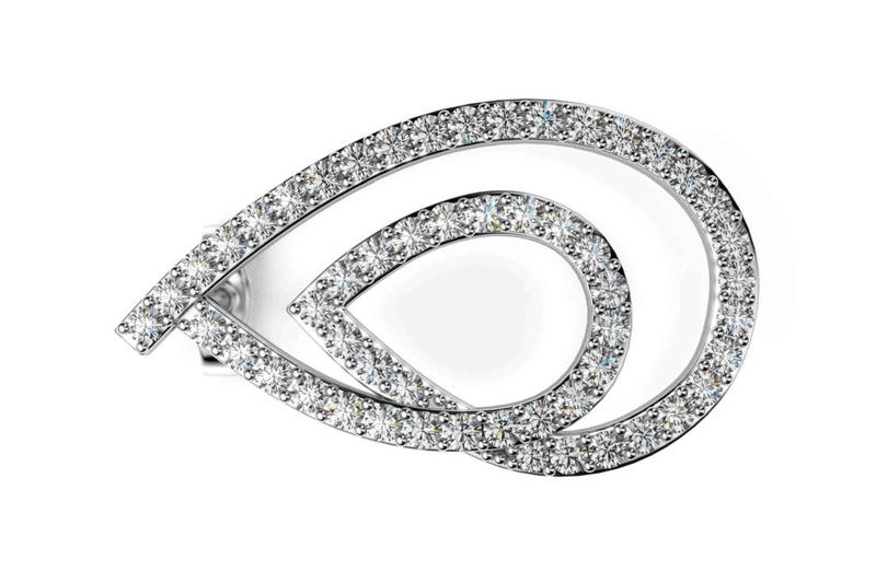 náušnice zo 14-karátového bieleho zlata s diamantmi po obvode