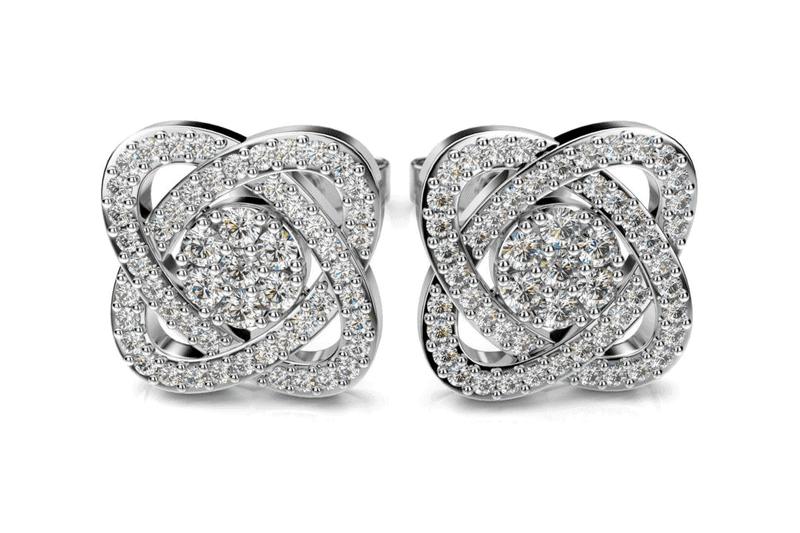 diamantové náušnice z bieleho zlata v krásnom unikátnom tvare