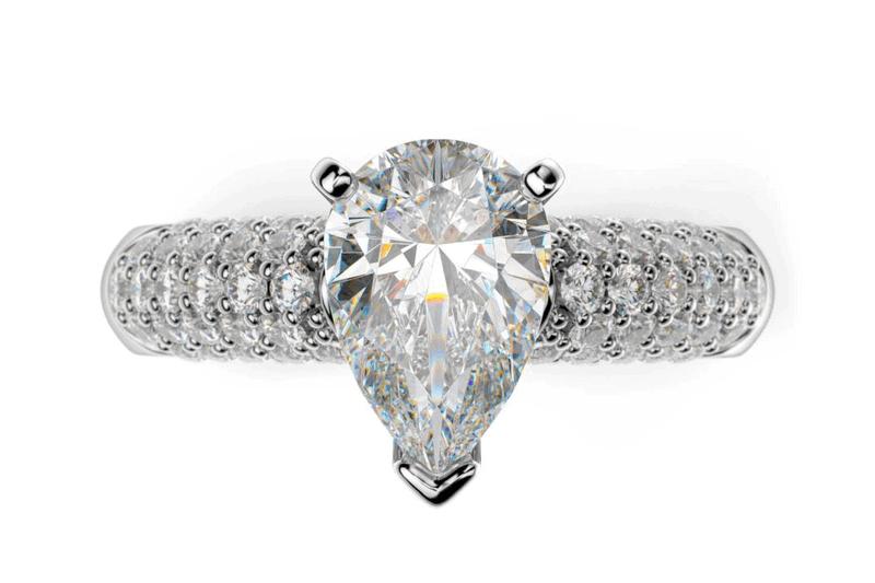 diamantový zásnubný prsteń z bieleho zlata s diamantom v tvare Pear