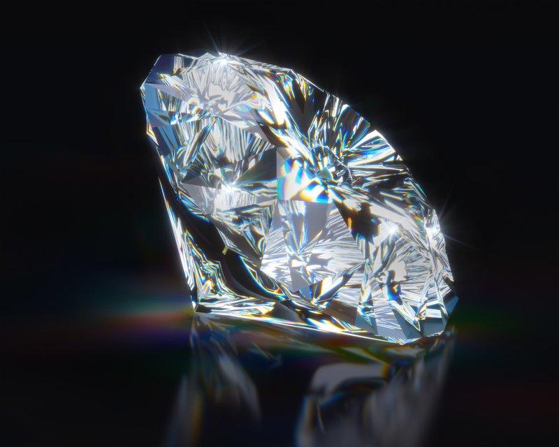 trblietajúci sa diamant na čiernom podklade