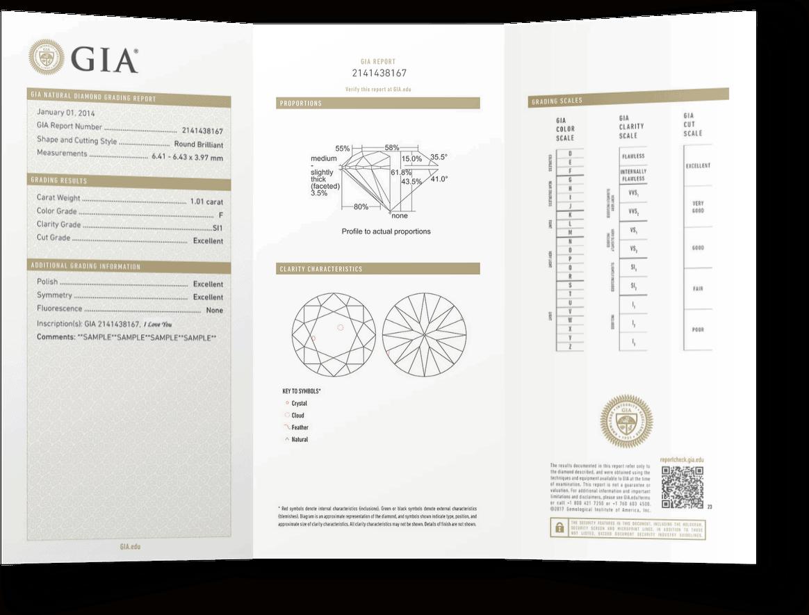 otvorený GIA certifikát s údajmi o zakúpenom diamante osvedčujúci jeho pravosť