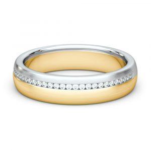 Dámska svadobná obrúčka zo žltého a bieleho zlata - pohľad spredu na ležiaci prsteň
