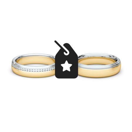 Set diamantovej dámskej svadobnej obrúčky a pánskej svadobnej obrúčky z kombinácie žltého a bieleho zľata s ikonou zľavy