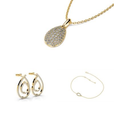 Súprava šperkov zo žltého zlata Sefa, Mikka a Puran - náušnice, náhrdelník a náramok